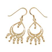 24k Gold-Over-Silver Filigree Drop Earrings