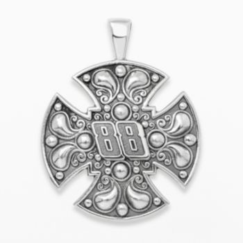 Insignia Collection NASCAR Dale Earnhardt Jr. Sterling Silver 88 Maltese Cross Pendant