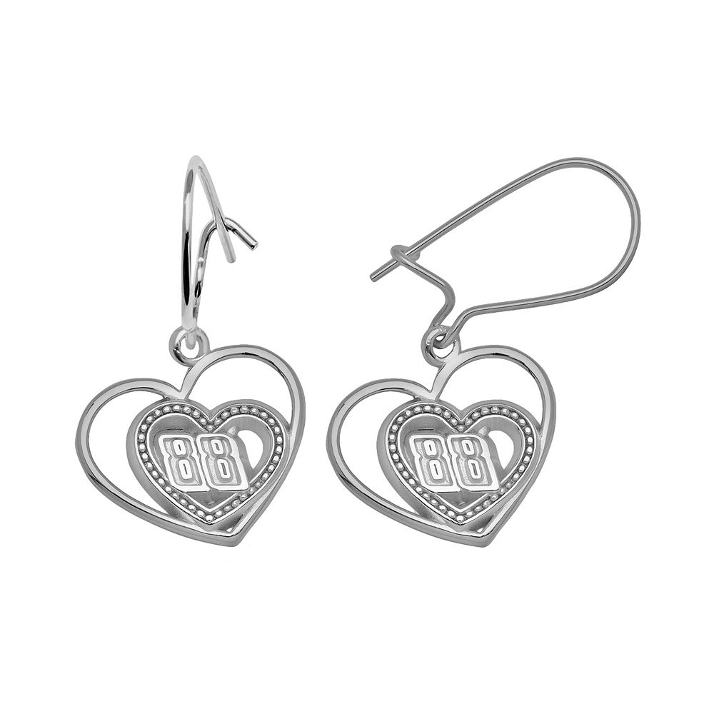 """Insignia Collection NASCAR Dale Earnhardt Jr. Sterling Silver """"88"""" Heart Drop Earrings"""