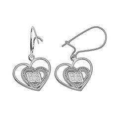 Insignia Collection NASCAR Dale Earnhardt Jr. Sterling Silver '88' Heart Drop Earrings