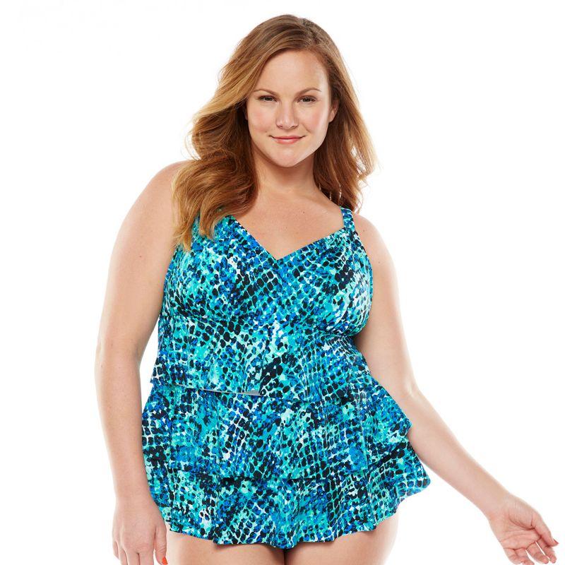 Croft & Barrow Tummy Slimmer Tiered One-Piece Swimsuit - Women's Plus
