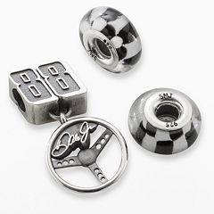 Insignia Collection NASCAR Dale Earnhardt Jr. Sterling Silver '88' Steering Wheel Charm & Checkered Flag Bead Set