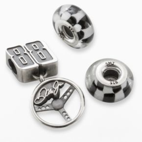 Insignia Collection NASCAR Dale Earnhardt Jr. Sterling Silver 88 Steering Wheel Charm and Checkered Flag Bead Set
