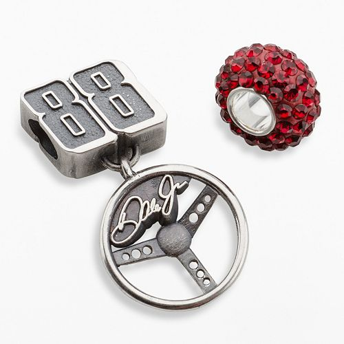 """Insignia Collection NASCAR Dale Earnhardt Jr. Sterling Silver """"88"""" Steering Wheel Charm & Crystal Bead Set"""