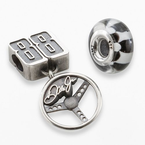 "Insignia Collection NASCAR Dale Earnhardt Jr. Sterling Silver ""88"" Charm & Checkered Flag Bead Set"