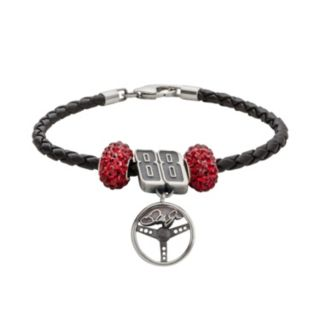 Insignia Collection NASCAR Dale Earnhardt Jr. Leather Bracelet Steering Wheel Charm and Crystal Bead Set