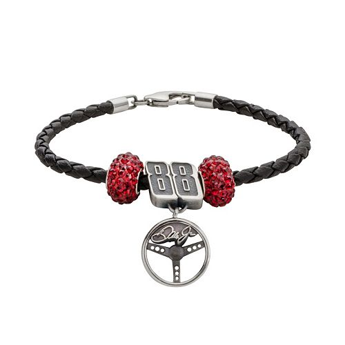 Insignia Collection NASCAR Dale Earnhardt Jr. Leather Bracelet Steering Wheel Charm & Crystal Bead Set