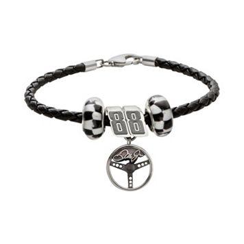 Insignia Collection NASCAR Dale Earnhardt Jr. Leather Bracelet & Steering Wheel Charm & Bead Set