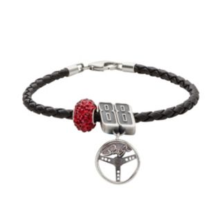 Insignia Collection NASCAR Dale Earnhardt Jr. Leather Bracelet and Sterling Silver Crystal 88 Steering Wheel Charm and Bead Set