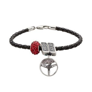 Insignia Collection NASCAR Dale Earnhardt Jr. Leather Bracelet & Sterling Silver Crystal