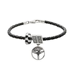 Insignia Collection NASCAR Dale Earnhardt Jr. Leather Bracelet & Sterling Silver '88' Charm & Bead Set