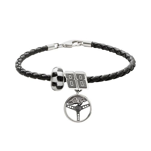 "Insignia Collection NASCAR Dale Earnhardt Jr. Leather Bracelet & Sterling Silver ""88"" Charm & Bead Set"