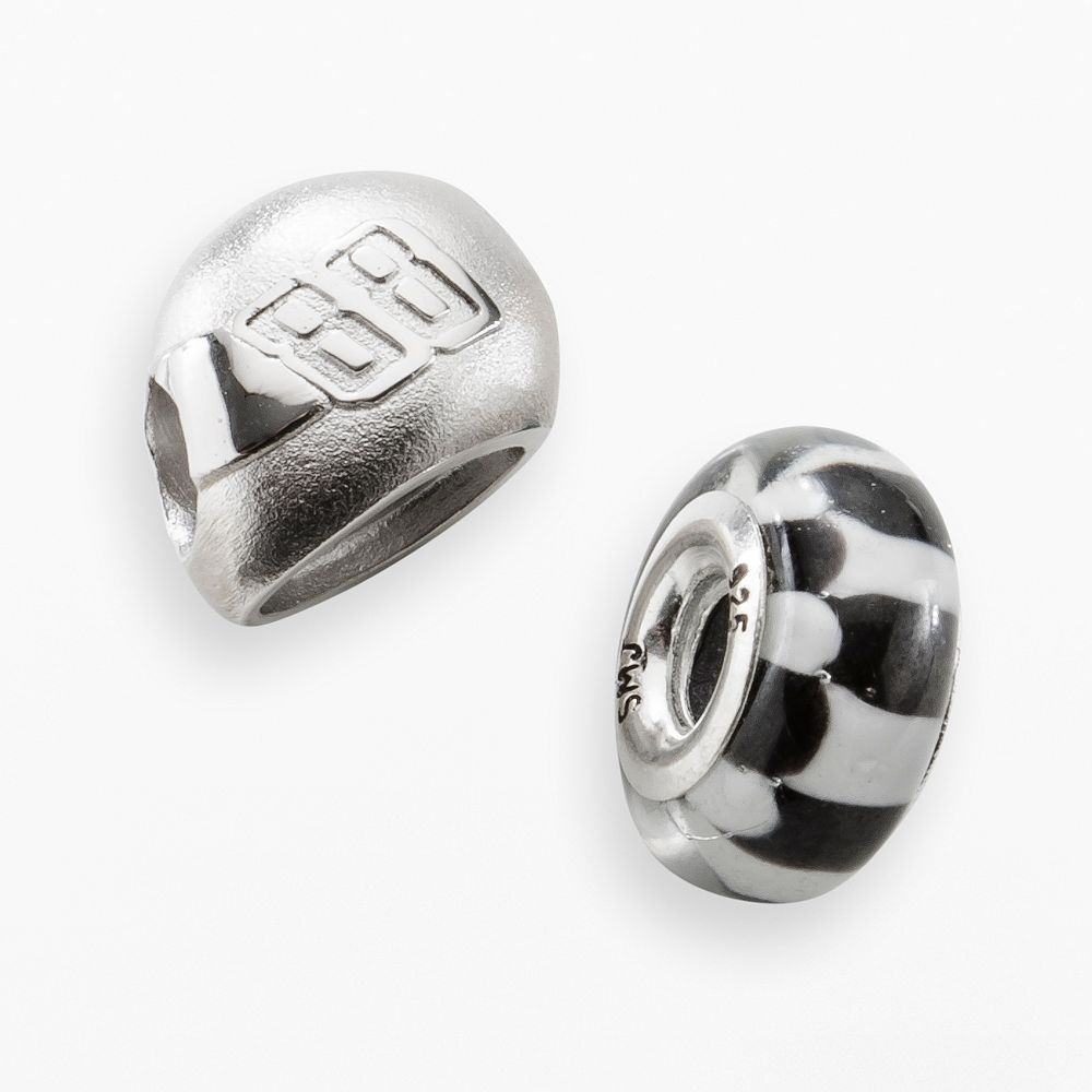 "Insignia Collection NASCAR Dale Earnhardt Jr. Sterling Silver ""88"" Helmet & Checkered Flag Bead Set"