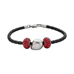 Insignia Collection NASCAR Dale Earnhart Jr. Leather Bracelet & Sterling Silver Helmet Bead Set