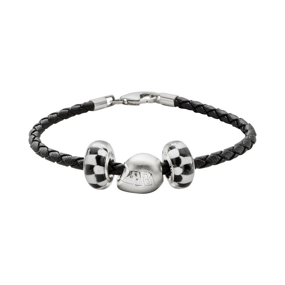 """Insignia Collection NASCAR Dale Earnhardt Jr. Leather Bracelet & Sterling Silver """"88"""" Helmet Bead Set"""