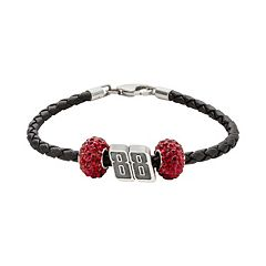 Insignia Collection NASCAR Dale Earnhardt Jr. Leather Bracelet & Sterling Silver Crystal & '88' Bead Set
