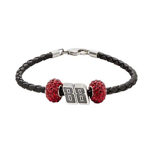 "Insignia Collection NASCAR Dale Earnhardt Jr. Leather Bracelet & Sterling Silver Crystal & ""88"" Bead Set"