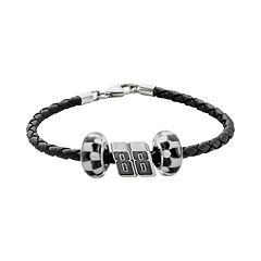 Insignia Collection NASCAR Dale Earnhardt Jr. Leather Bracelet & Sterling Silver '88' Bead Set