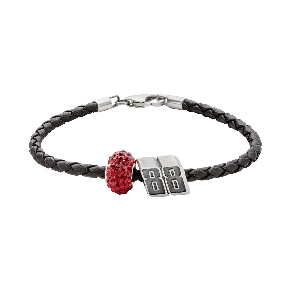 "Insignia Collection NASCAR Dale Earnhardt Jr. Leather Bracelet & ""88"" Bead & Crystal Bead Set"