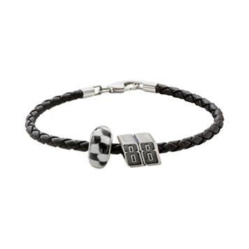 Insignia Collection NASCAR Dale Earnhardt Jr. Leather Bracelet & Sterling Silver