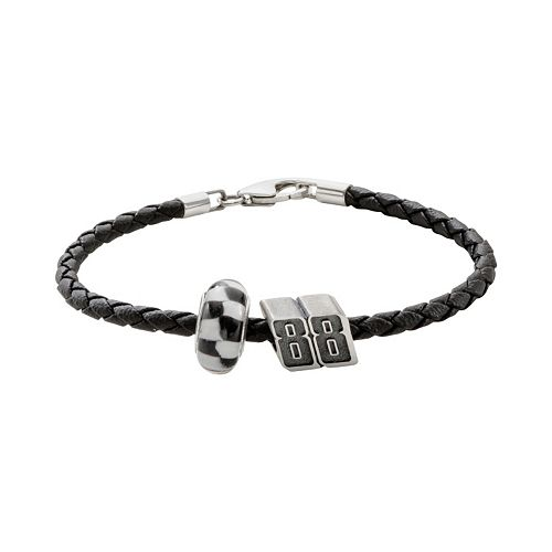 "Insignia Collection NASCAR Dale Earnhardt Jr. Leather Bracelet & Sterling Silver ""88"" Bead Set"