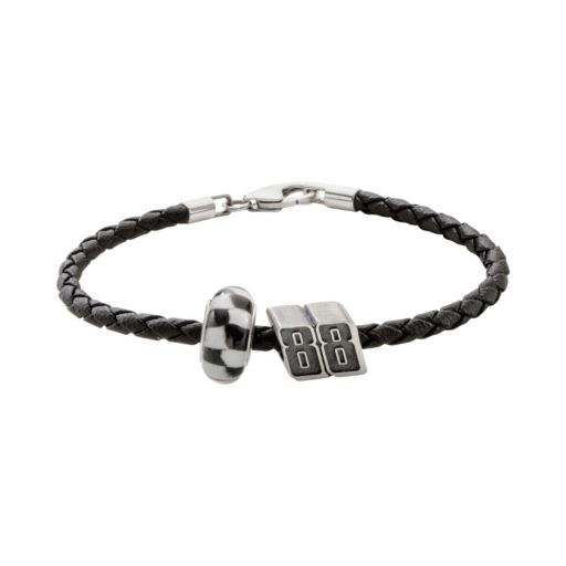 Insignia Collection NASCAR Dale Earnhardt Jr. Leather Bracelet and Sterling Silver 88 Bead Set