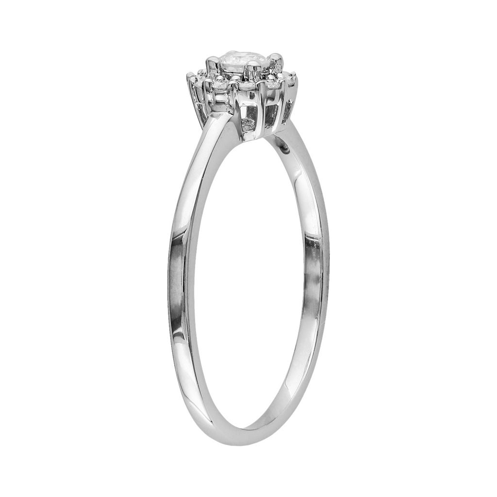 Round-Cut Diamond Flower Engagement Ring in Sterling Silver (1/4 ct. T.W.)