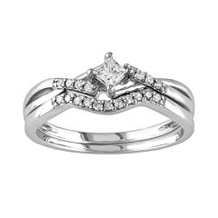 Stella Grace Princess-Cut Diamond Engagement Ring Set in Sterling Silver (1/5 ct. T.W.)