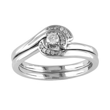 Round-Cut Diamond Swirl Engagement Ring Set in Sterling Silver (1/7 ct. T.W.)
