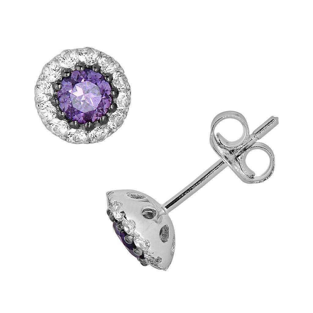 Oro Leoni Sterling Silver Amethyst & White Topaz Stud Earrings - Made with Genuine Swarovski Gemstones