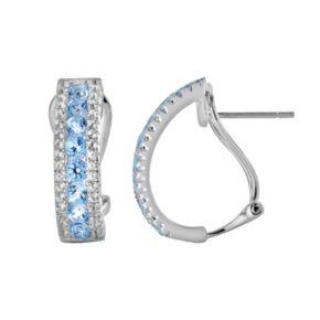Oro Leoni Sterling Silver Blue and White Topaz Hoop Earrings - Made with Genuine Swarovski Gemstones