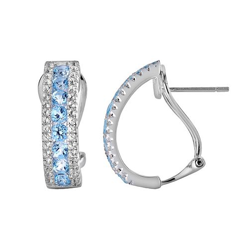Oro Leoni Sterling Silver Blue & White Topaz Hoop Earrings - Made with Genuine Swarovski Gemstones