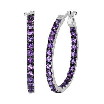 Oro Leoni Sterling Silver Amethyst Inside-Out Hoop Earrings - Made with Genuine Swarovski Gemstones