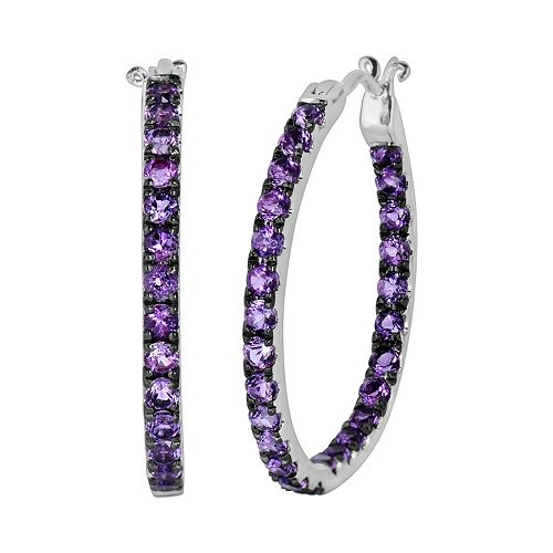 Oro Leoni Sterling Silver Amethyst Inside-Out Hoop Earrings - Made with Genuine Swarovski Gemstones