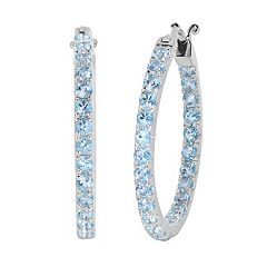 Oro Leoni Sterling Silver Blue Topaz Inside-Out Hoop Earrings - Made with Genuine Swarovski Gemstones