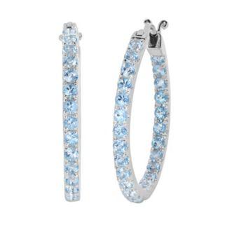 Oro Leoni Sterling Silver Blue Topaz Inside-Out Hoop Earrings - Made with Genuine Swarovski Gemstones