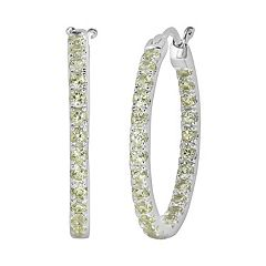 Oro Leoni Sterling Silver Peridot Inside-Out Hoop Earrings - Made with Genuine Swarovski Gemstones