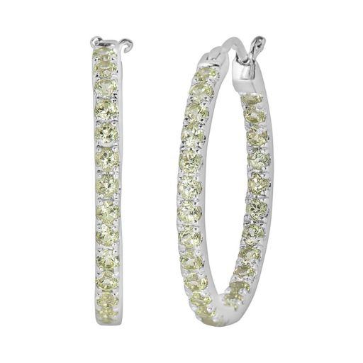 Oro Leoni Sterling Silver Peridot Inside-Out Hoop Earrings - Made with Genuine Swarovski Gemstones