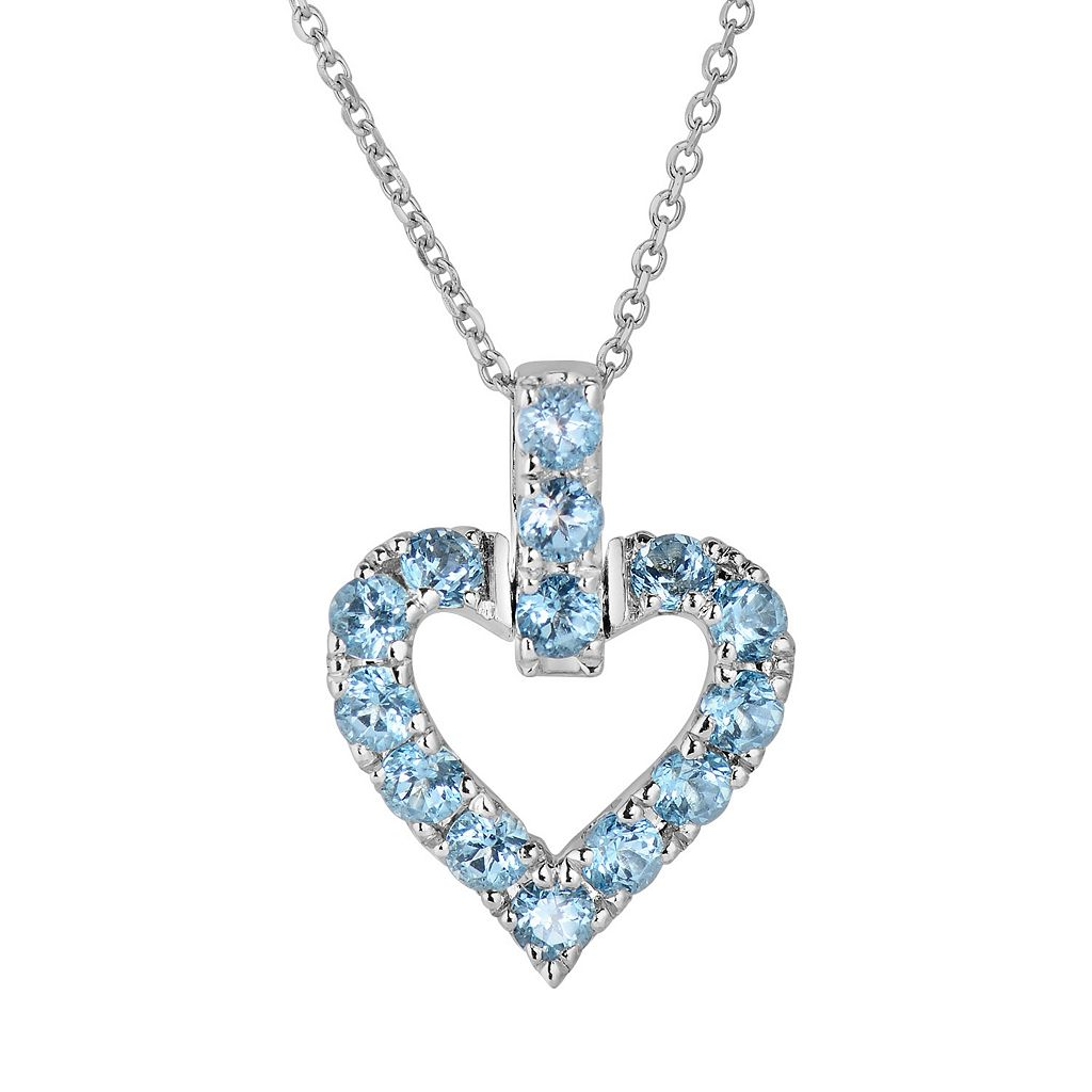 Oro Leoni Sterling Silver Blue Topaz Heart Pendant - Made with Genuine Swarovski Gemstones