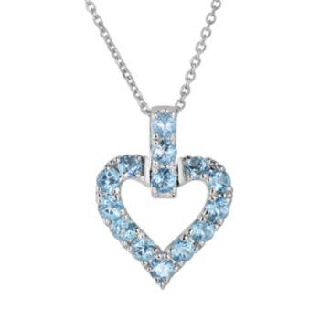 Oro Leoni Sterling Silver Blue Topaz Heart Pendant - Made with Genuine Swarovski Gemstones