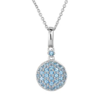 Oro Leoni Sterling Silver Blue Topaz Disc Pendant - Made with Genuine Swarovski Gemstones