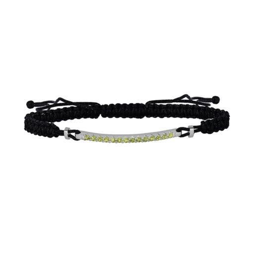 Oro Leoni Sterling Silver Peridot Woven Slipknot Bracelet - Made with Genuine Swarovski Gemstones