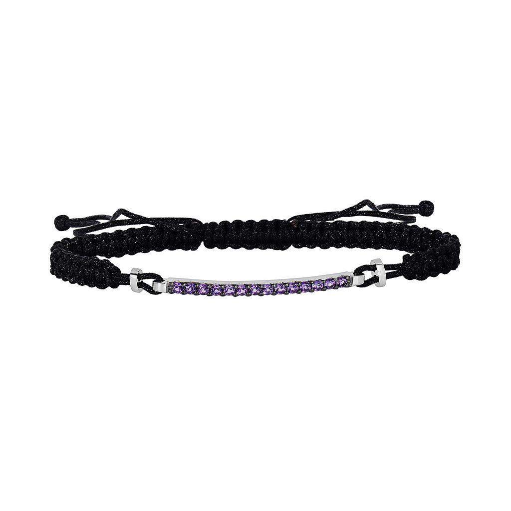 Oro Leoni Sterling Silver Amethyst Woven Slipknot Bracelet - Made with Genuine Swarovski Gemstones