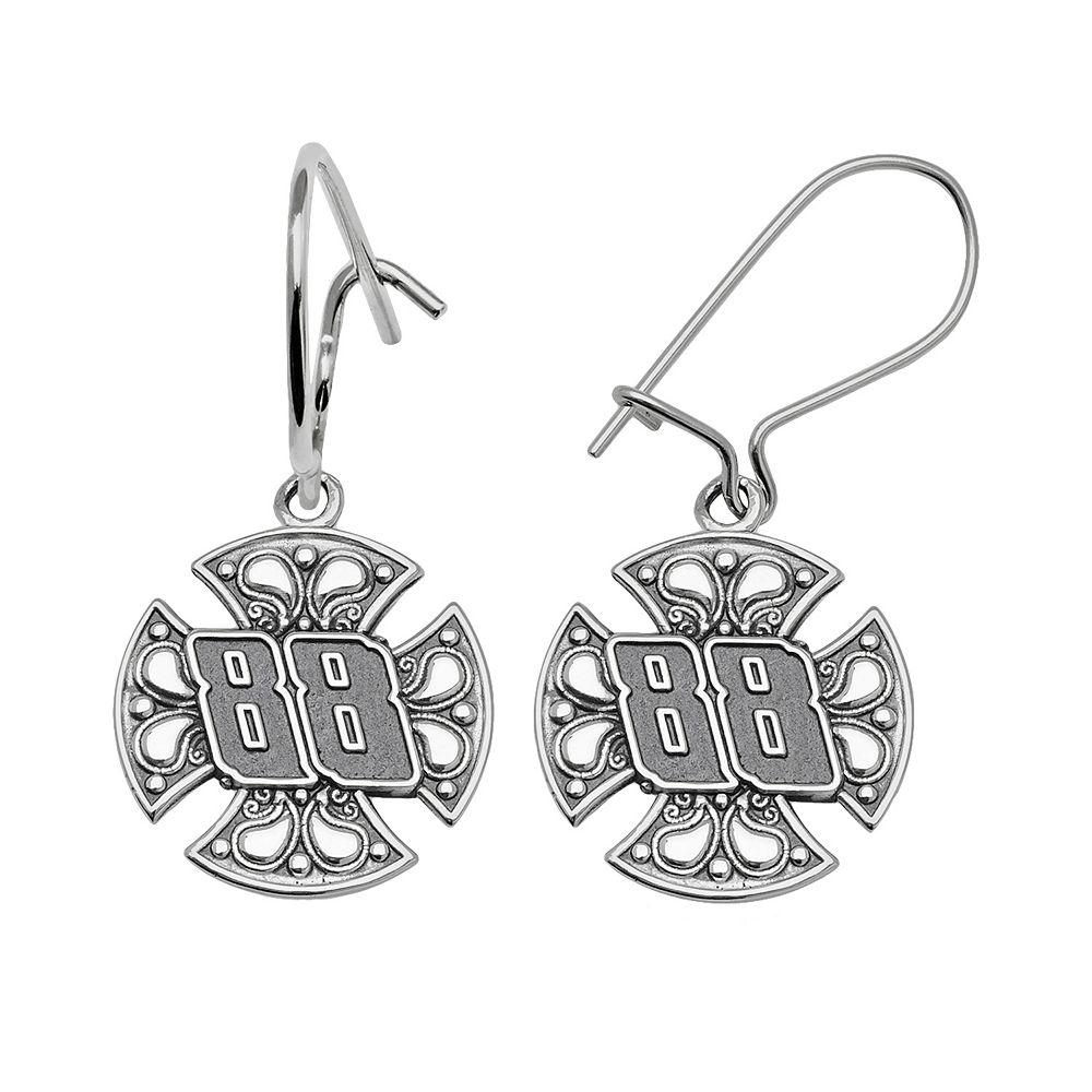 """Insignia Collection NASCAR Dale Earnhardt Jr. Sterling Silver """"88"""" Maltese Cross Drop Earrings"""