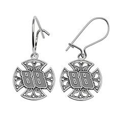 Insignia Collection NASCAR Dale Earnhardt Jr. Sterling Silver '88' Maltese Cross Drop Earrings