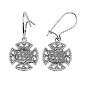 Insignia Collection NASCAR Dale Earnhardt Jr. Sterling Silver 88 Maltese Cross Drop Earrings
