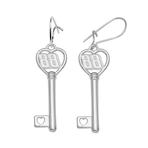 "Insignia Collection NASCAR Dale Earnhardt Jr. Sterling Silver ""88"" Heart Key Drop Earrings"