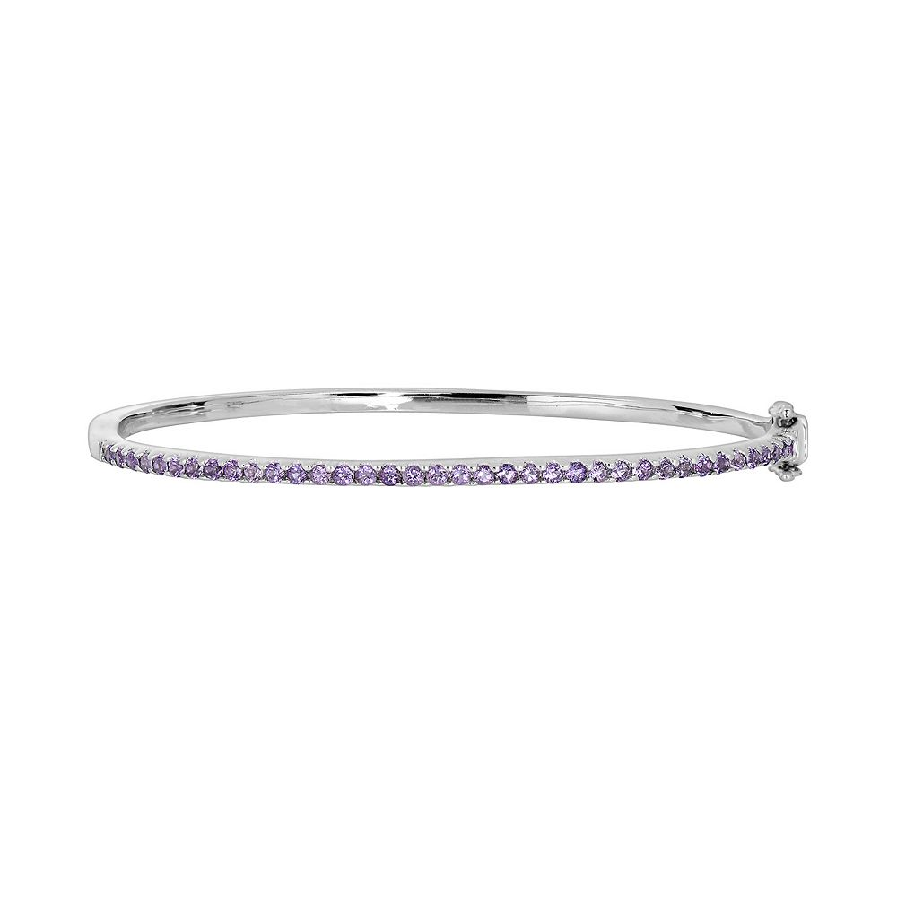 Oro Leoni Sterling Silver Amethyst Bangle Bracelet - Made with Genuine Swarovski Gemstones