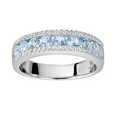 Oro Leoni Sterling Silver Blue & White Topaz Ring Made with Genuine Swarovski Gemstones by