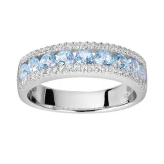 Oro Leoni Sterling Silver Blue and White Topaz Ring - Made with Genuine Swarovski Gemstones